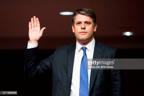 Justin Reed Walker swears in before testifying before a Senate Judiciary Committee hearing on his nomination to be United States Circuit Judge for...