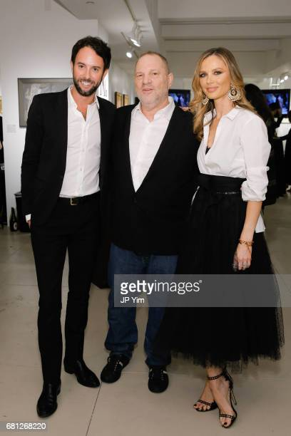 Justin Reeves Harvy Weinstein and Georgina Chapman attend 'A Magic Bus Cocktail Party' at DAG Modern on May 9 2017 in New York City