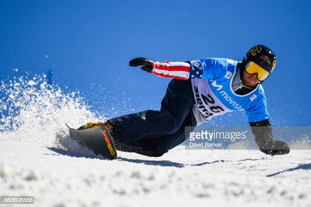Justin Reiter of the United States competes in the quarterfinal of the Men's Parallel Slalom on day eight of the FIS Freestyle Ski Snowboard World...