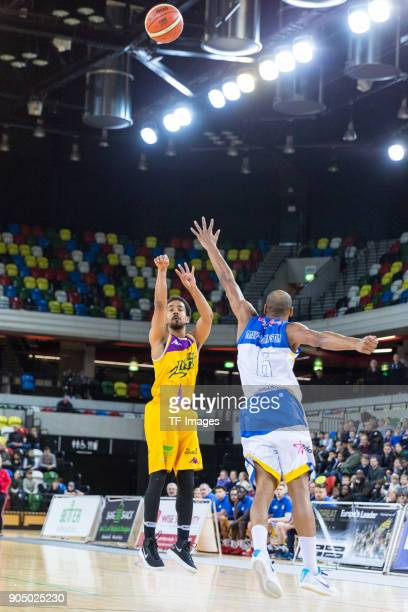 Justin Robinson of London Lions in action during the British Basketball League match between London Lions and Cheshire Phoenix at Copper Box Arena on...