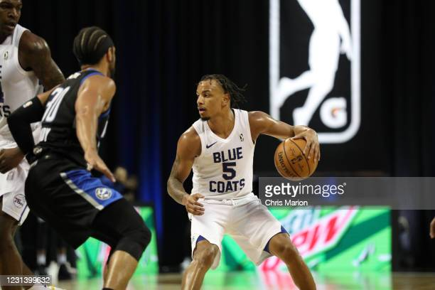 Justin Robinson of the Delaware Blue Coats handles the ball against the Lakeland Magic on February 26, 2021 at HP Field House in Orlando, Florida....