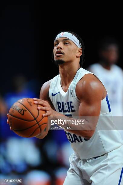 Justin Robinson of the Delaware Blue Coats shoots free throws against the Raptors 905 during the NBA G League Playoffs on March 9, 2021 at...
