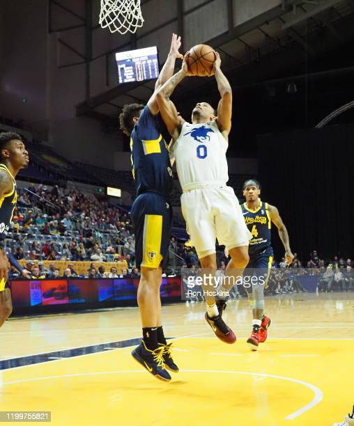 Justin Robinson of the Delaware Blue Coats shoots the ball against the Minnesota Timberwolves on February 09, 2020 at Memorial Coliseum in Fort...