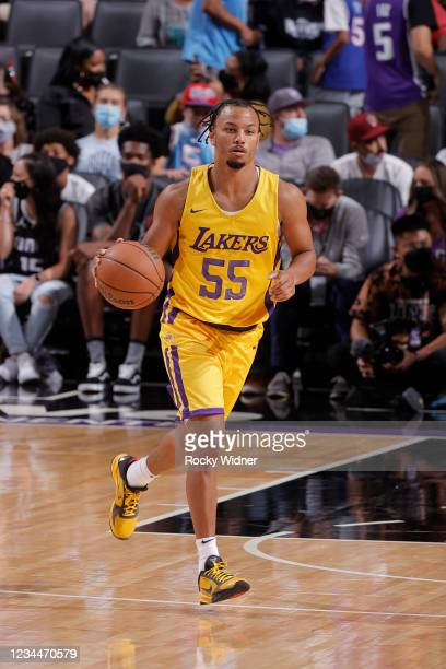 Justin Robinson of the Los Angeles Lakers dribbles the ball against the Sacramento Kings during the 2021 California Classic Summer League on August...