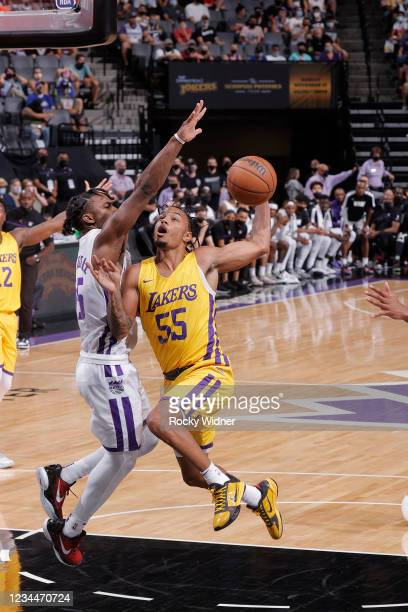 Justin Robinson of the Los Angeles Lakers drives to the basket against the Sacramento Kings during the 2021 California Classic Summer League on...