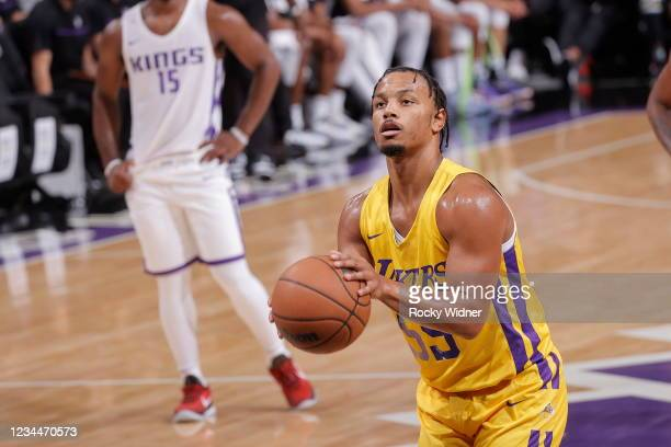 Justin Robinson of the Los Angeles Lakers shoots a free throw against the Sacramento Kings during the 2021 California Classic Summer League on August...