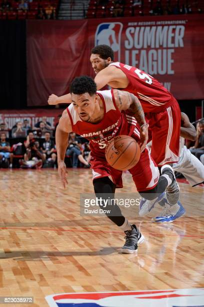 Justin Robinson of the Miami Heat handles the ball against the Memphis Grizzlies during the Quarterfinals of the 2017 Summer League on July 15 2017...