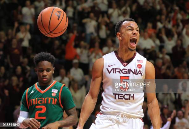 Justin Robinson of the Virginia Tech Hokies celebrates during the game against the Miami Hurricanes at Cassell Coliseum on February 3 2018 in...