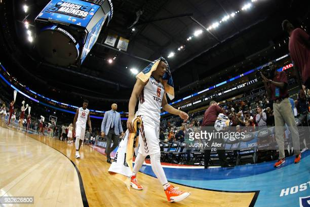 Justin Robinson of the Virginia Tech Hokies reacts after being defeated by the Alabama Crimson Tide in the game in the first round of the 2018 NCAA...