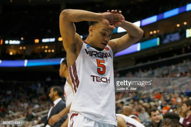 Justin Robinson of the Virginia Tech Hokies reacts after fouling out against the Alabama Crimson Tide late in the second half of the game in the...