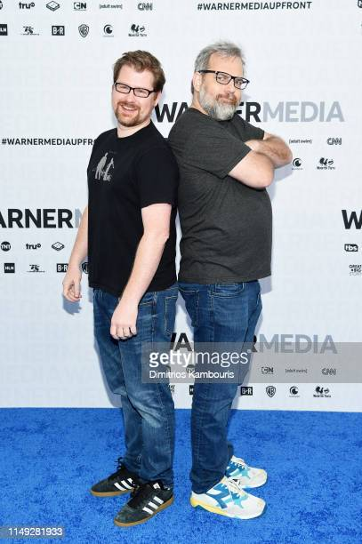 Justin Roiland and Dan Harmon of Adult Swim's Rick and Morty attend the WarnerMedia Upfront 2019 arrivals on the red carpet at The Theater at Madison...
