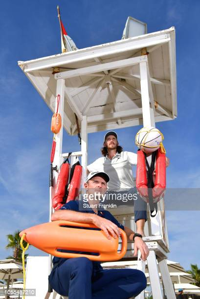 Justin Rose and Tommy Fleetwood of England poses for a picture in a lifeguards seat prior to the start of the Turkish Airlines Open on October 30...