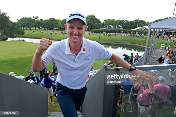 Justin Rose celebrates his win after the final round of the Fort Worth Invitational at Colonial Country Club on May 27, 2018 in Fort Worth, Texas.