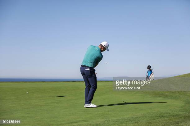 Justin Rose chips off the green on the South Course at the Farmers Insurance Open golf tournament on January 24 2018 in San Diego California