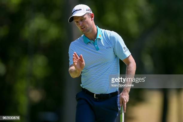 Justin Rose gestures after missing his putt on during the second round of the Fort Worth Invitational on May 25 2018 at Colonial Country Club in Fort...