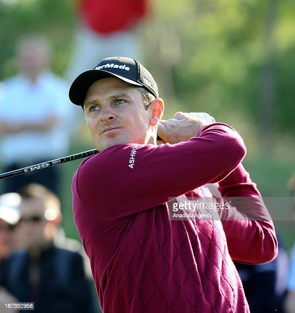 Justin Rose hits the ball during the second day of the Turkish Airlines Open Golf Tournament on November 8 2013 in Antalya Turkey Turkish Airlines...