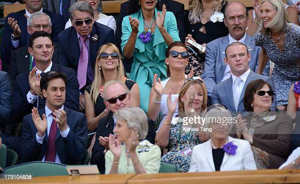 Justin Rose, Kate Phillips, Coleen Rooney and Wayne Rooney sit a row behind Ed Miliband the Men's Singles Final between Novak Djokovic and Andy...