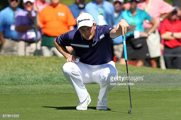 Justin Rose lines up a putt on the fourth green during the third round of the Valspar Championship at Innisbrook Resort - Copperhead in Palm Harbor,...