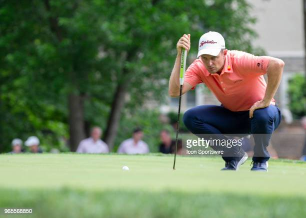 Justin Rose lines up his putt during the second round of the Memorial Tournament at Muirfield Village Golf Club in Dublin Ohio on June 01 2018