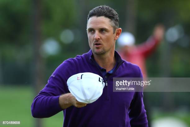 Justin Rose of England acknowledges the crowd on the 18th green during the final round of the Turkish Airlines Open at the Regnum Carya Golf Spa...