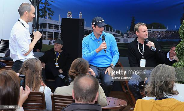 Justin Rose of England and Actor Philip Glenister answer questions from the public in the tented village with Andrew Cotter during the third round of...