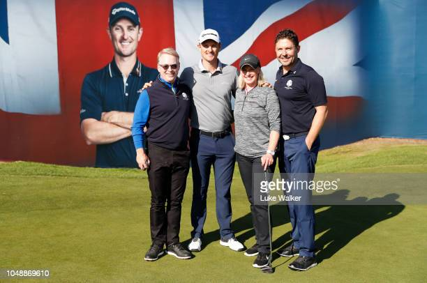 Justin Rose of England and his playing partner Keith Pelly CEO of the PGA European Tour Barney Francis and Sarah Stirk during the Hero Pro Am prior...