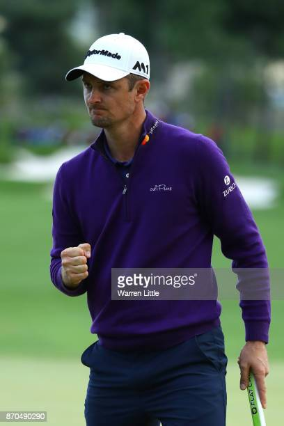 Justin Rose of England celebrates a birdie on the 18th green during the final round of the Turkish Airlines Open at the Regnum Carya Golf Spa Resort...