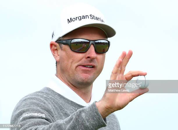 Justin Rose of England celebrates a putt on the 17th hole during Day four of the Alfred Dunhill Links Championship at The Old Course on September 29,...