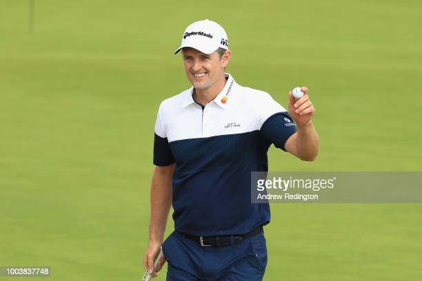 Justin Rose of England celebrates his eagle on the 14th green during the final round of the 147th Open Championship at Carnoustie Golf Club on July...