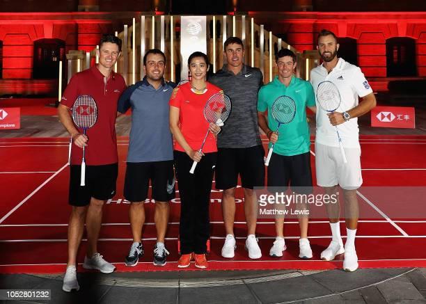 Justin Rose of England Francesco Molinari of Italy Wang Lin of China former World No1 Badminton player Brooks Koepka of the United States Rory...