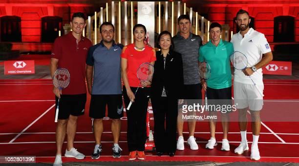 Justin Rose of England Francesco Molinari of Italy Wang Lin of China former World No1 Badminton player Helen Wong chief executive for Greater China...