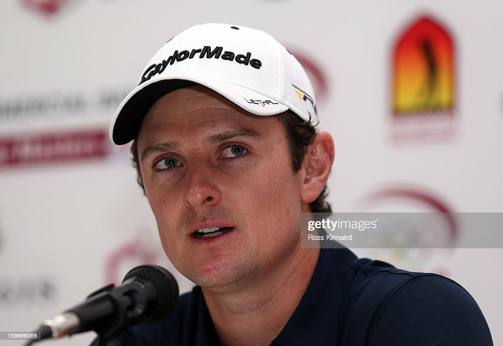 Justin Rose of England gives a press conference during the pro-am event prior to the Commercial Bank Qatar Masters at The Doha Golf Club on January 22, 2013 in Doha, Qatar.