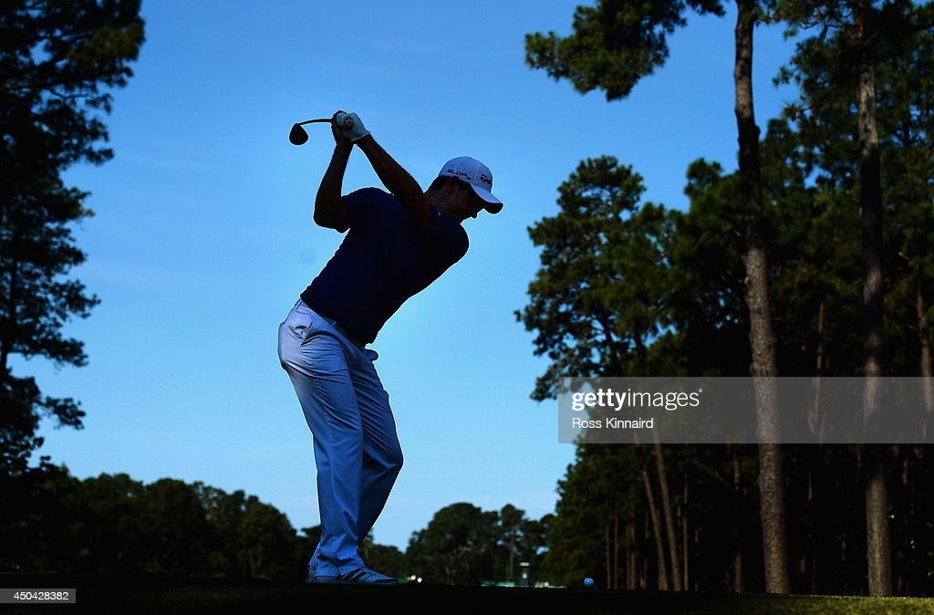 Justin Rose of England hits a shot during a practice round prior to the start of the 114th U.S. Open at Pinehurst Resort & Country Club, Course No. 2 on June 11, 2014 in Pinehurst, North Carolina.