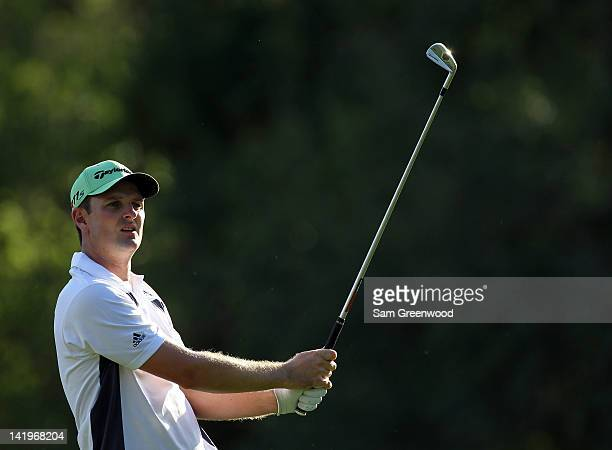 Justin Rose of England hits a shot during the first round of the Transitions Championship at Innisbrook Resort and Golf Club on March 15 2012 in Palm...