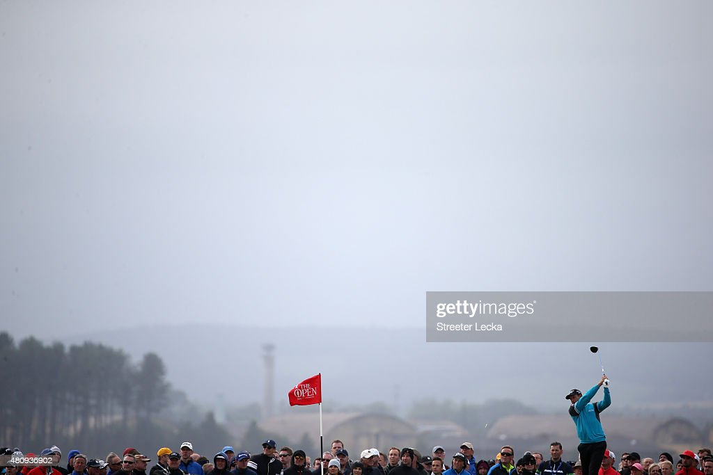 Justin Rose of England hits a tee shot during the first round of the 144th Open Championship at The Old Course on July 16, 2015 in St Andrews, Scotland.