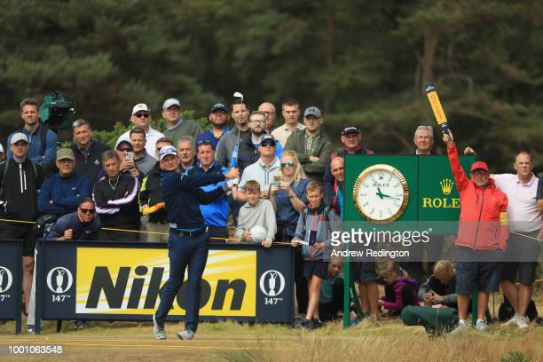 Justin Rose of England hits a tee shot on the 14th hole during previews to the 147th Open Championship at Carnoustie Golf Club on July 18 2018 in...