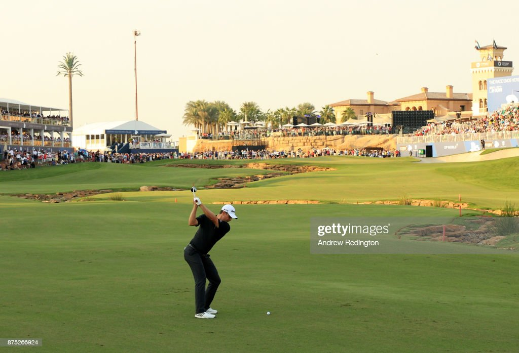 Justin Rose of England hits his second shot on the 18th hole during the second round of the DP World Tour Championship at Jumeirah Golf Estates on November 17, 2017 in Dubai, United Arab Emirates.
