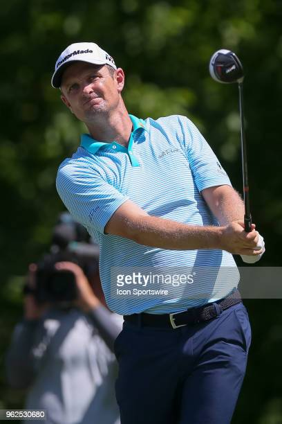 Justin Rose of England hits his tee shot on during the second round of the Fort Worth Invitational on May 25 2018 at Colonial Country Club in Fort...