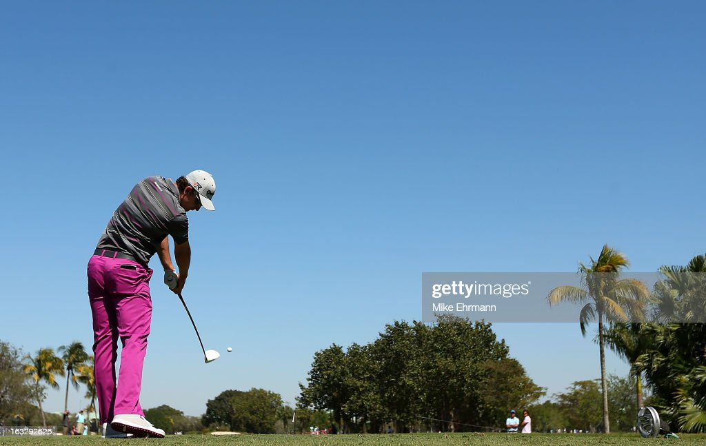 Justin Rose of England hits his tee shot on the fifth hole during the first round of the World Golf Championships-Cadillac Championship at the Trump Doral Golf Resort & Spa in Miami, Florida.