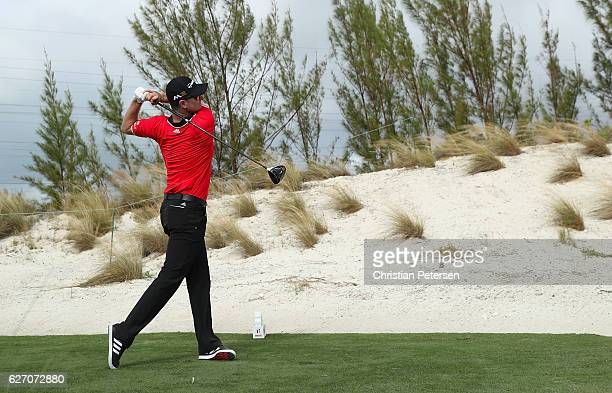 Justin Rose of England hits his tee shot on the tenth hole during round one of the Hero World Challenge at Albany The Bahamas on December 1 2016 in...