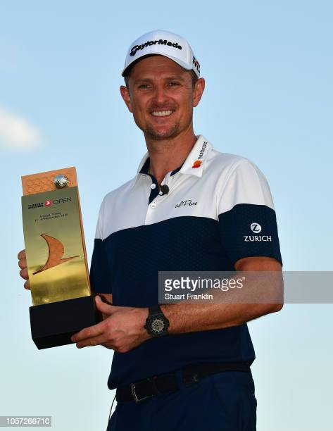 Justin Rose of England holds the winners trophy after the final day of The Turkish Airlaines golf on November 4 2018 in Antalya Turkey