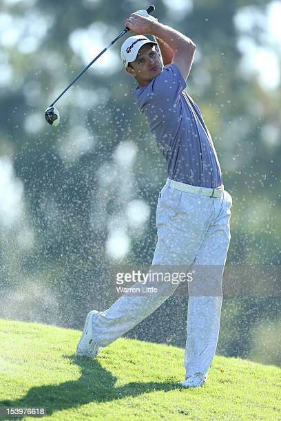 Justin Rose of England in action against fellow countryman Lee Westwood during the final day of the Turkish Airlines World Golf Final final Day at...