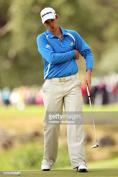 Justin Rose of England in action during the first round of The JP McManus Invitational ProAm event at the Adare Manor Hotel and Golf Resort on July 5...