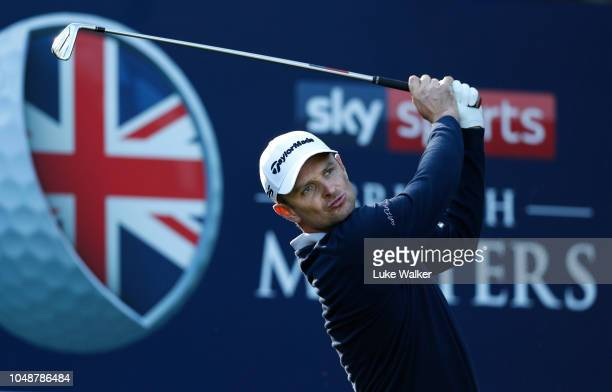 Justin Rose of England in action during the Hero Pro Am prior to the start of the British Masters supported by Sky Sports at Walton Heath Golf Club...