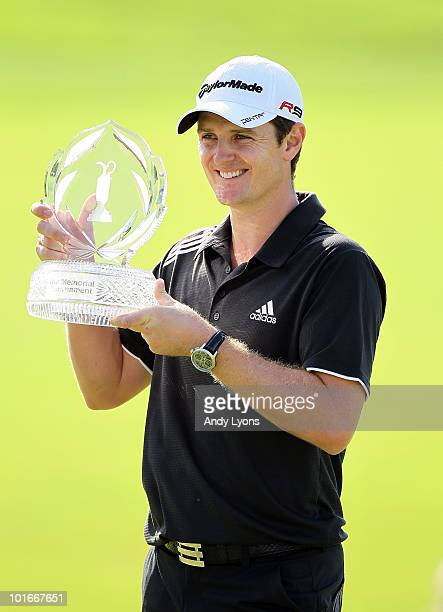 Justin Rose of England is pictured after winning The Memorial Tournament presented by Morgan Stanley at Muirfield Village Golf Club on June 6 2010 in...