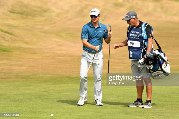 Justin Rose of England lines up his second shot on hole one during day four of the Aberdeen Standard Investments Scottish Open at Gullane Golf Course...