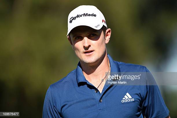 Justin Rose of England looks on from the 16th green during the second round of the AT&T National at Aronimink Golf Club on July 2, 2010 in Newtown...