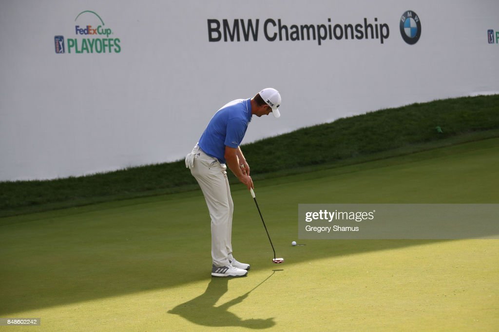 Justin Rose of England misses a par putt on the 17th green during the final round of the BMW Championship at Conway Farms Golf Club on September 17, 2017 in Lake Forest, Illinois.