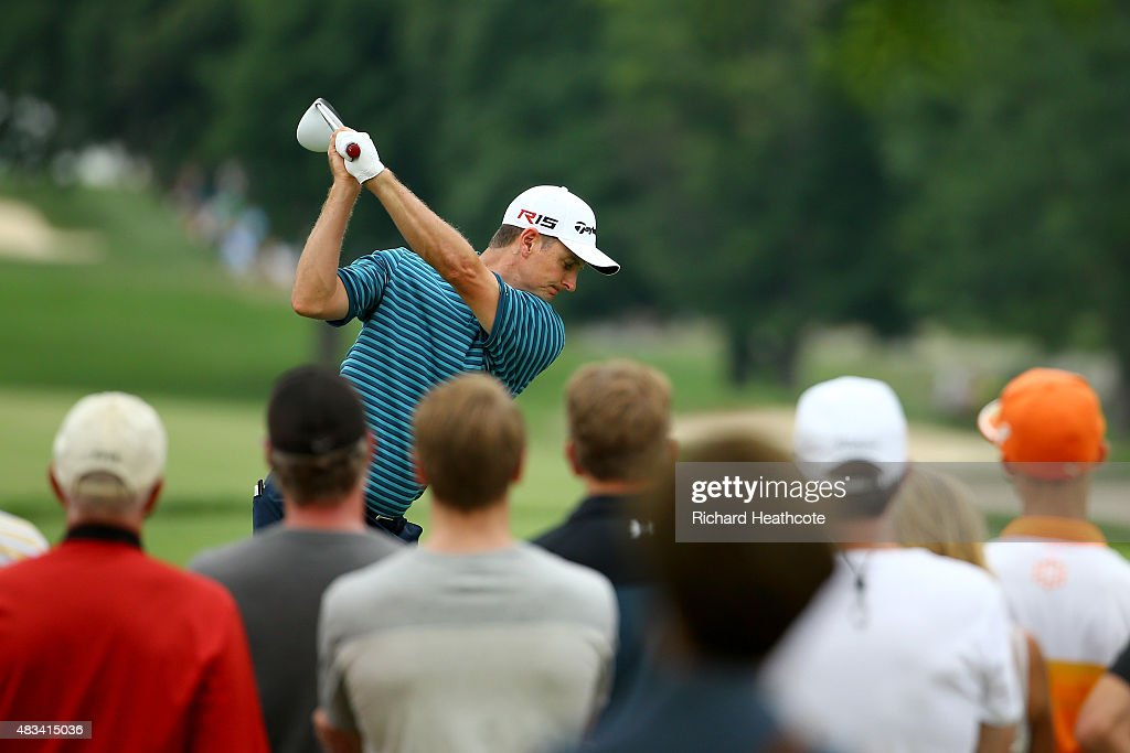 Justin Rose of England of England hits off the ninth tee during the third round of the World Golf Championships - Bridgestone Invitational at Firestone Country Club South Course on August 8, 2015 in Akron, Ohio.