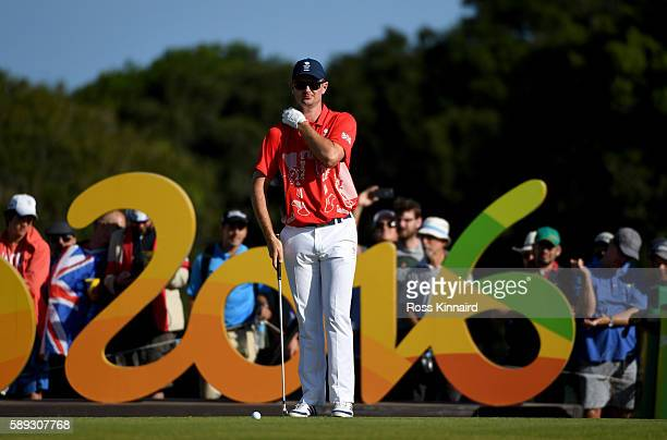 Justin Rose of England on the 16th tee during the third round of the Mens Individual Stroke Play event on Day 8 of the Rio 2016 Olympic Games at the...
